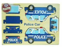 Wooden 3D Puzzle Blue Children 7pc Jigsaw DIY Police Car Model Gift For Kids 3+