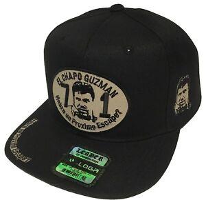 EL CHAPO GUZMAN 701 HAT WITH 4 LOGOS  HABRA UN PROXIMO ESCAPE COLOR BLACK