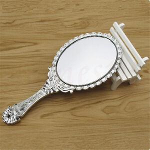 Ladies Retro Repousse Floral Hand Held Vanity Oval Round Mirror Makeup Dresser