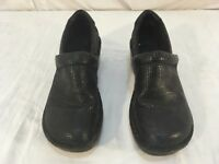 Womens B.O.C Black Slip On 7.5 Leather Upper Clogs Mules Style Shoes