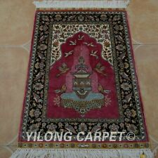YILONG 2'x3' Pink Handknotted Silk Area Rug Home Interior Prayer Carpets 0422