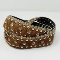 Nocona Womens Leather Calf Hair Western Belt Rhinestones Bling Studded Brown S