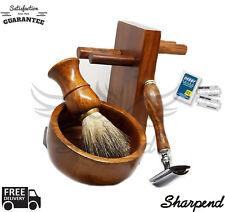 Brown 4 Piece Shaving Set   DE Safety razor & Badger Brush   Men's Gift Kit