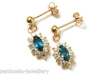 9ct Gold London Blue Topaz Cluster Drop dangly earrings Gift Boxed Made in UK