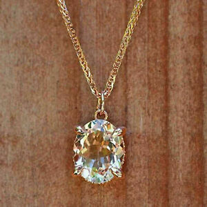 14k Rose Gold Over 2.25Ct Oval Cut Peach Morganite Solitaire Pendant Necklace