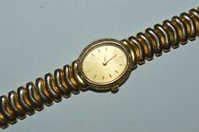 Vintage SEIKO Watch 2P2O-5H2O Ladies Quartz Sculpted Case Gold Colors Works Fine