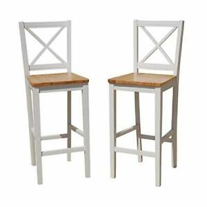 TMS 30 inch Virginia Cross Back Stools Set of 2 White/natural