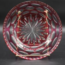 """Czech/Bohemian Cased Cranberry Cut To Clear Thumbprint & Star 7 1/4"""" Plate"""