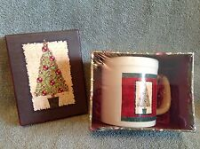 "Holiday"" Mug in a Box"" Christmas Tree Paper Images NEW IN BOX & LID"