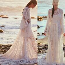 Beach Wedding Dresses Bridal Ball Gowns Lace Long Sleeves Sweep Train Casual New