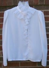 80s VTG White French Ruffle Edwardian Collar Semi Sheer Romantic Top Blouse sm