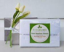NEW Organic Bamboo Pillowcase Set (x2) in Dove White, Silver Grey & Stormy Grey