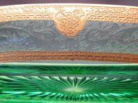 Indiana Glass? Green Gold Gilt Horseshoe Etch Pattern Dish & Candle Holders Set