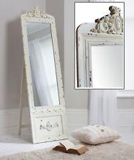 "Belvedere Cream Shabby Chic Free Standing Cheval Long Floor Mirror 75"" x 20"""
