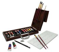 Acquerello Pittura Vernice & Spazzole Deluxe Scatola di Legno Custodia Set