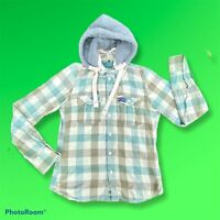 """Superdry Check Green Removable Hooded Shirt Extra Large XL P2P 21"""""""