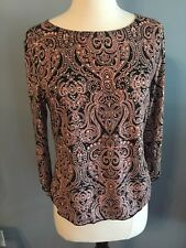 Brittany Black Womens Small Top 3/4 Sleeve Polyester Black Peach Sequins