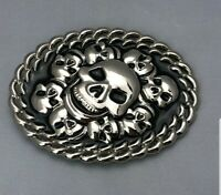 Skull Heads Belt Buckle Punk Goth Moto Motorcycle Black Silver Metal Oval R-2