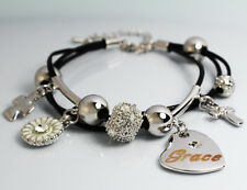 Genuine Braided Leather Charm Bracelet With Name - GRACE - Gifts for her