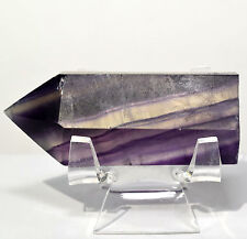 "2.5"" Purple Fluorite Point Banded Polished Crystal Stick Quartz Mineral Wand"