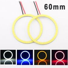 2pcs 60mm White Red Blue Yellow Led COB Angel eye Fog Lamp Halo Ring Head Light
