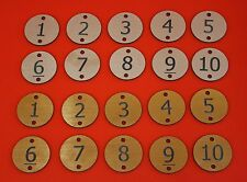 Engraved table number discs  locker door numbers house number discs