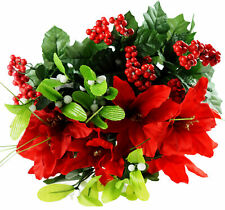 Bunch Of 6 Artificial Christmas Poinsettia Flowers Mistletoe Holly Stems