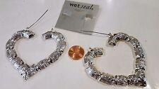"""Big Heart Earrings Silvertone Alloy Fashion  Jewelry 2.3/4"""" NEW"""