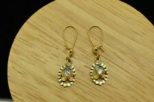 10K YELLOW GOLD OVAL FRAMED ROUND CZ W/ TRI TONE ACCENTS FISHHOOK EARRINGS