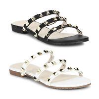 100% Vegan Womens Girls Black Slip On Studded Open Peep Toe Sandals Sliders Size