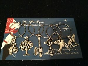 Wine Glass Charms - Set of 6 - Red Riding Hood Themed (Axe, Wolf, Tree, Red)