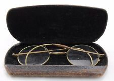 Vintage Antique Spectacles Eye Glasses Round With Prescription & Case Repaired