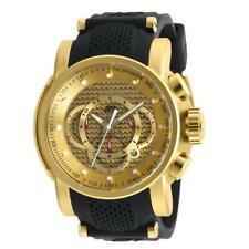 Invicta S1 Rally 19326 Men's Gold Tone Date Chronograph Black Silicone Watch