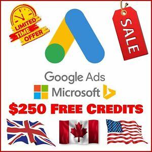 FREE CREDIT $150 Google Ads + $100 Microsoft (Bing) Ads = $250  Free Ads Credits