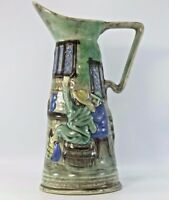 Vintage E. Radford England Hand Painted Pottery Pitcher Vase
