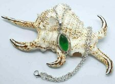 """1940s Vintage Style Green Peridot Silver Plated Pendant Necklace 20"""" Chain"""
