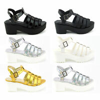 NEW WOMENS GIRLS GLADIATOR CUT OUT SANDALS PUNK PLATFORM CHUNKY BLOCK HEEL SIZE