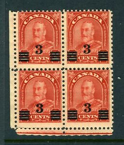 CANADA Scott 191 - NH - 3¢ on 2¢ Deep Red Arch/Leaf Provisional BLK of 4 (.085)