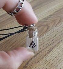 TRIQUETRA glass vial empty fillable spell potion charm bottle HEMP NECKLACE