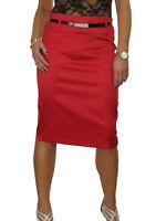 NEW Stretch Matte Satin Skirt Diamante Belt Red 8-22