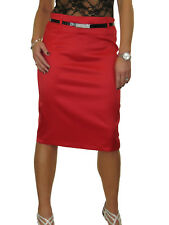 Womens Stretch Matte Satin Skirt Diamante Belt Red Party Formal NEW 8-22
