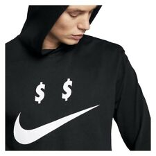 SZ L 🆕👌Nike Sportswear Money Mens Hooded Long Sleeve Shirt Black Hoodie AO8055