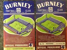 Burnley Home Teams Written - on Football Programmes