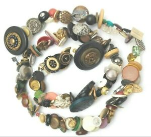 VINTAGE Charmstring Buttons Antique Figural Metals Trinkets Estate Button Lot