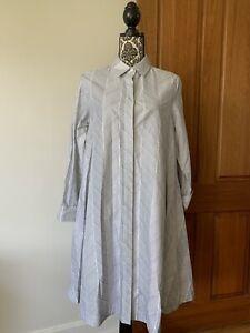 Alpha 60 swing cotton button up tunic dress Sz Small AU 8 Alpha60 As New