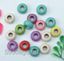 Wholesale 35pcs mixed Turquoise big hole Shaped loose Beads 13mm