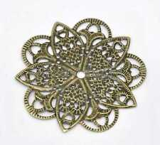 50 Bronze Tone Filigree Flower Wraps Connector Embellishments Findings 46mm
