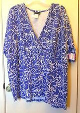 New! M.I.B . Blue and White floral print short sleeve blouse size C (0X)