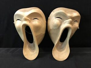 Mask Scream Modern Carved by Nyoman Naranata Hibiscus Wood Sculpture Decor Pair