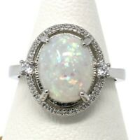 Antique Vintage White Opal Ring Women Wedding Engagement Jewelry Size 6 7 8 9
